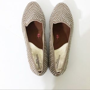 Ros Hommerson Rhinestone  Taupe Flats Size 11M New